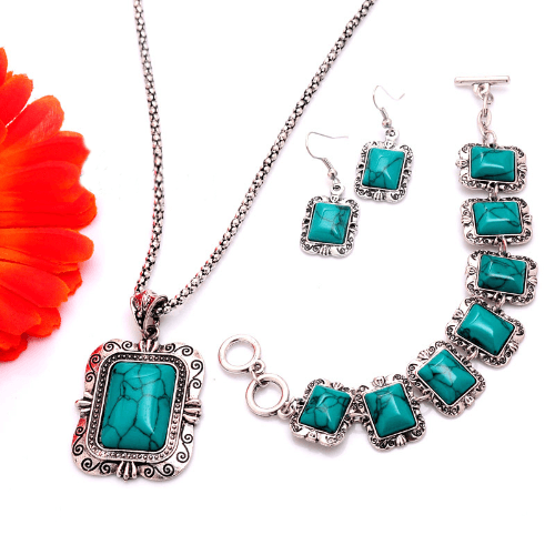 Turquoise Jewelry Silver Plated Necklace Set