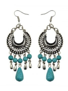Turquoise Tassel Earrings Water Drop Beads
