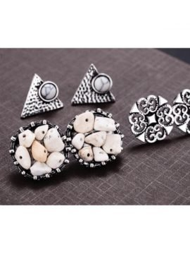 White Stone Earrings Set Silver Tone