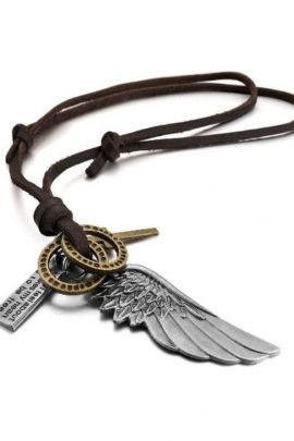 Wing Pendant Necklace Adjustable Leather