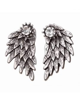 Angel Wing Stud Earrings Silver Tone