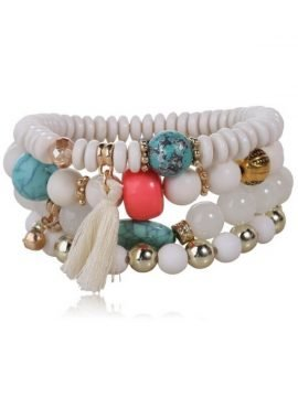 Beaded Tassel Bracelet Set Simulated Pearl