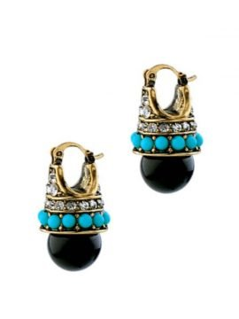 Black Drop Earrings Gold Tone Metal