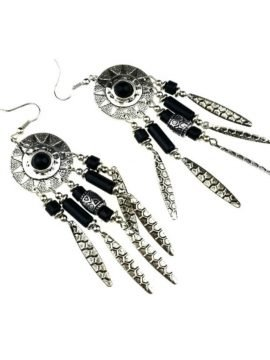 Bohemian Silver Earrings Tassel Design