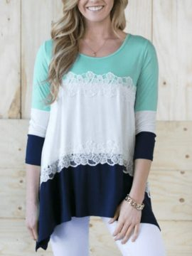 Casual Asymmetrical Loose Top Lace Decorated