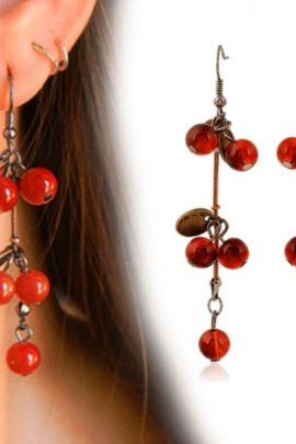 Cherry Earrings Sweet Red Cherry Charms
