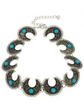 Crescent Choker Necklace Turquoise Beaded