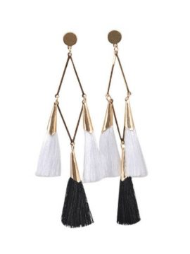 Dangle Tassel Earrings Gold Tone Black