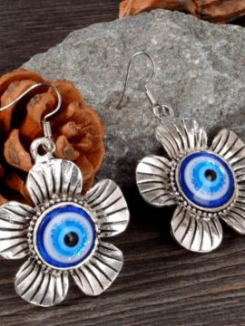 Floral Drop Earrings Cute Evil Eye Design