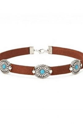 Leather Rope Choker Necklace Floral