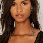 Long Dangle Cross Earrings Black Beaded