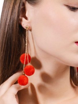 Pom Pom Tassel Earrings Red Gold Tone 1