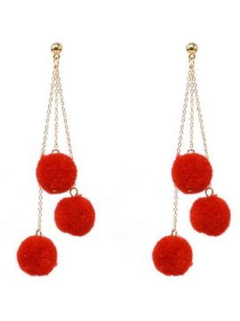 Pom Pom Tassel Earrings Red Gold Tone