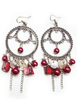 Red Beaded Earrings Vintage Bohemian