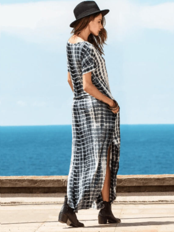 Short Sleeve Maxi Dress V Neck Boho Style