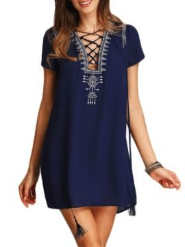Split Neck Dress Royal Blue Embroidered