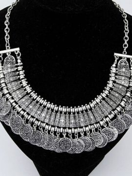 Statement Coin Necklace Gypsy Silver Tone