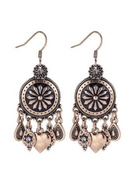 Water Drop Dangle Earrings Floral Design