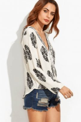 Wrap Front Top V-Neck Long Sleeve Blouse