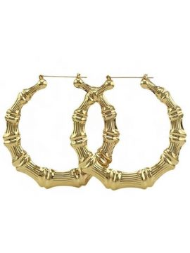 Big Hoop Earrings Gold Tone Bamboo Style 2