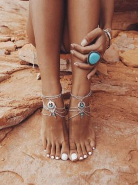 Chain Anklet Turquoise Beaded Silver Tone 1