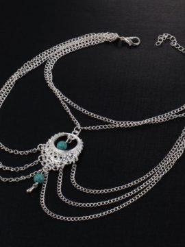Chain Anklet Turquoise Beaded Silver Tone