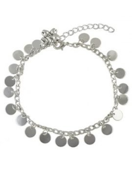Chain Link Ankle Bracelet Dangling Discs Style
