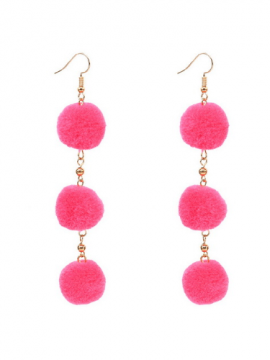 Dangle Pom Pom Earrings Pink Gold Tone