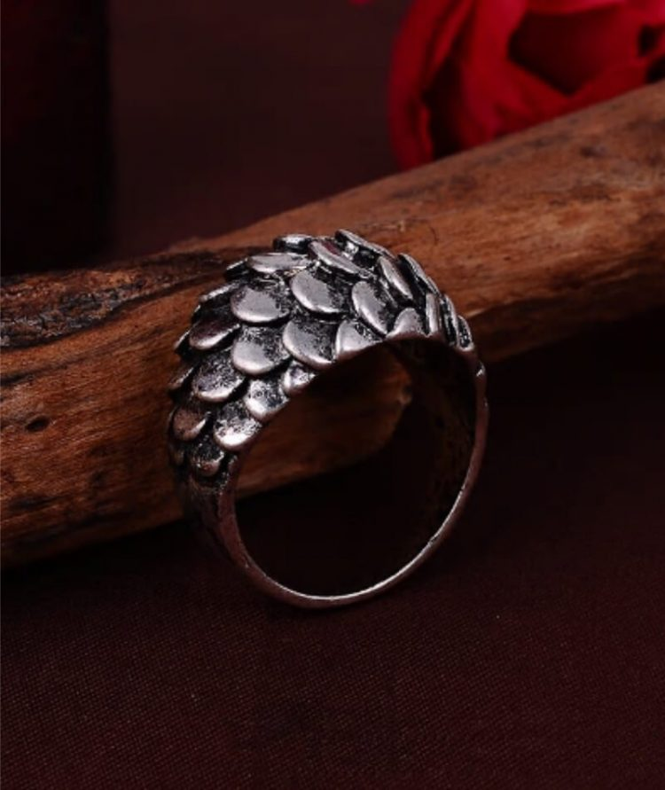 Dragon Scale Ring Silver Tone Metal