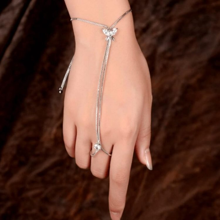 Hand Chain Silver Tone Butterfly Design