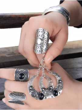 Rustic Silver Rings Earrings Set Boho Style
