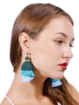 Cotton Tassel Earrings Layered Design 1