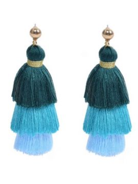 Cotton Tassel Earrings Layered Design