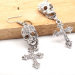 Skull Drop Earrings Crystals Cross Design