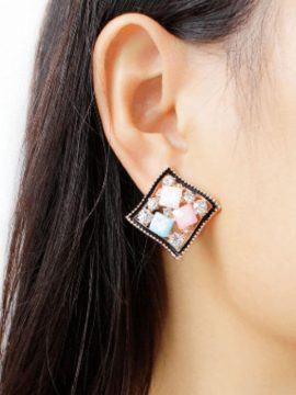 Square Stud Earrings Multicolor Gold Tone 2