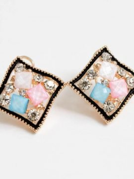 Square Stud Earrings Multicolor Gold Tone