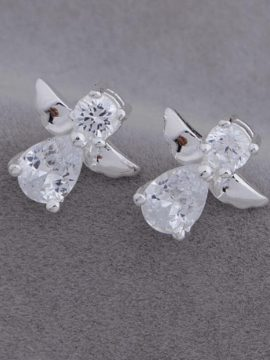 Angel Stud Earrings Silver Plated