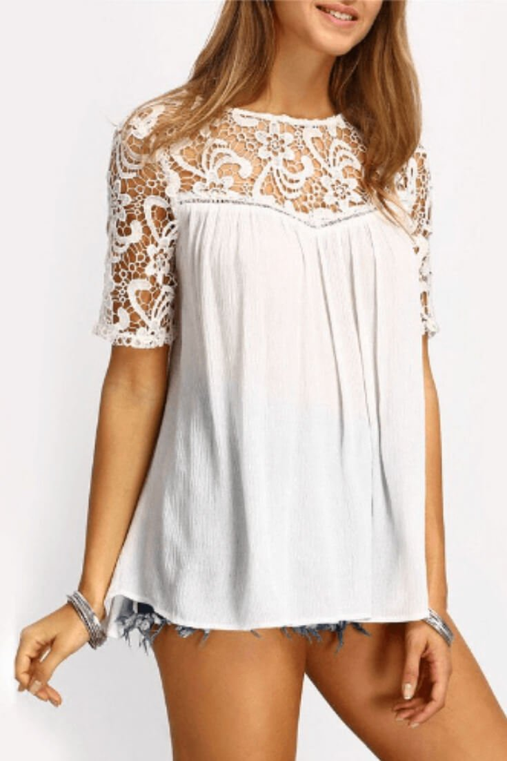 Crochet Short Sleeve Top Loose Fit