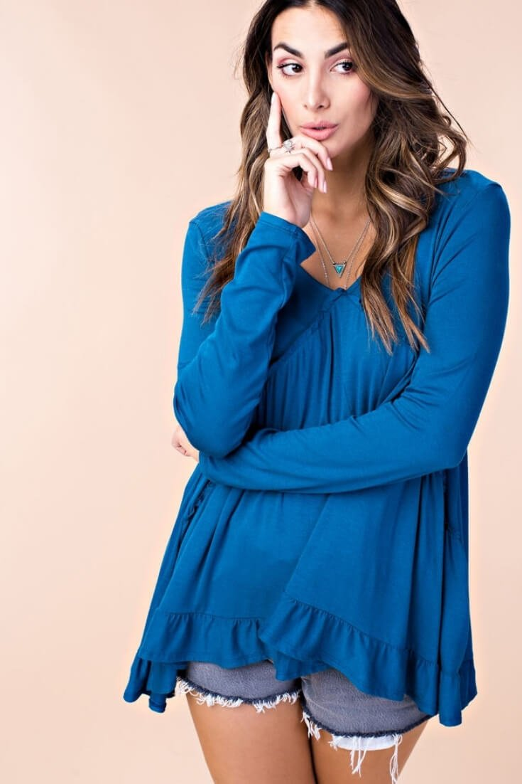 Double Frill Top Long Sleeve
