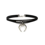 Moon Pendant Choker Layered Leather Suede