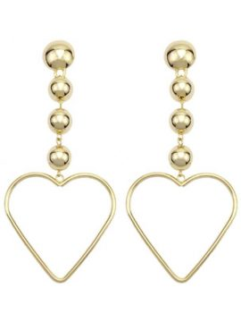 Open Heart Drop Earrings Gold Tone