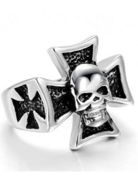 Skull Cross Ring Stainless Steel Silver Tone