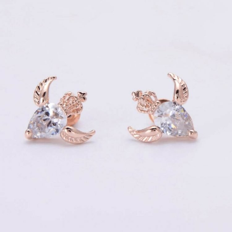 Angel Earrings Gold Tone Crown Design
