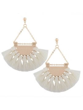 Fringe Tassel Earrings Gold Tone Metal