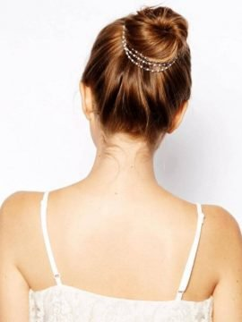 Hair Chain Gold Tone Pearl Hair Accessory