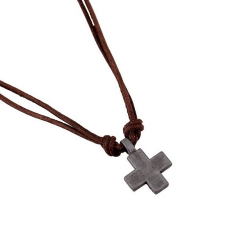 Cross Pendant Mens Leather Cord Necklace