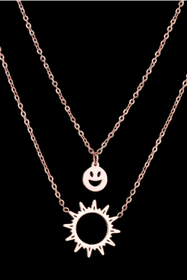 Double Layer Pendant Necklace Rose Gold