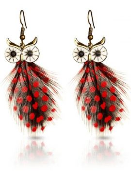 Feather Owl Earrings Polka Dots Design