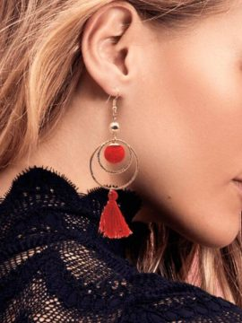 Red Tassel Earrings Gold Tone Metal 1