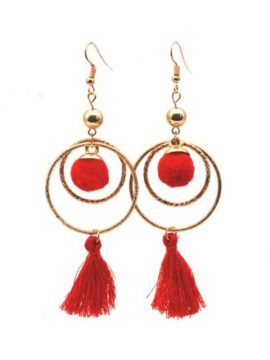 Red Tassel Earrings Gold Tone Metal